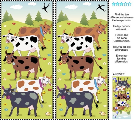 Farm themed picture puzzle: Find the ten differences between the two pictures of spotted milk cows. Answer included.
