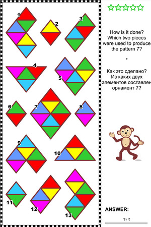 Abstract visual puzzle: How is it done? Which two pieces were used to produce the pattern 7? Answer included.