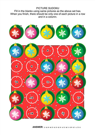 sudoku: Christmas or New Year themed picture sudoku puzzle 5x5 (one block) with ball christmas tree ornaments. Answer included.
