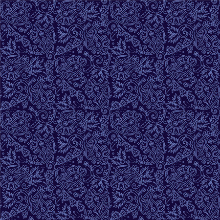 Seamless (you see 4 tiles) paisley pattern background (swatch, wallpaper, print, texture) of dark blue night colors