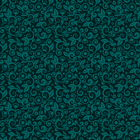 turquoise swirl: Seamless (you see 9 tiles) floral pattern background (wallpaper, texture, tile, swatch, print) of green blue or dark turquoise trendy winter holidays Christmas colors