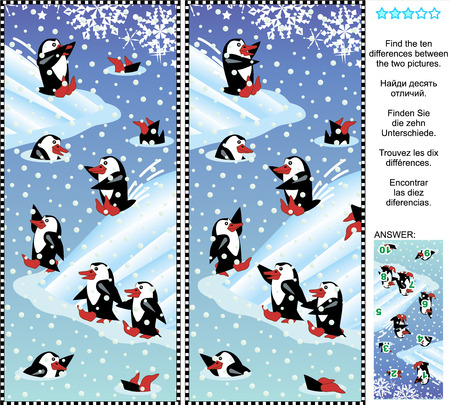 Christmas, winter or New Year themed picture puzzle: Find the ten differences between the two pictures of playful penguins. Answer included.