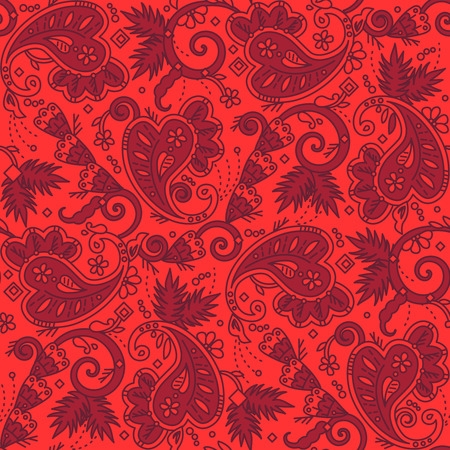 Seamless (easy to repeat) paisley pattern background (swatch, wallpaper, tile, print, texture) of red Christmas colors Vector