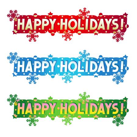 Fijne vakantie! - Drie groeten, design elementen voor kaarten, banners, uitnodigingen, posters, geïsoleerd op een witte achtergrond Stockfoto - 32981345