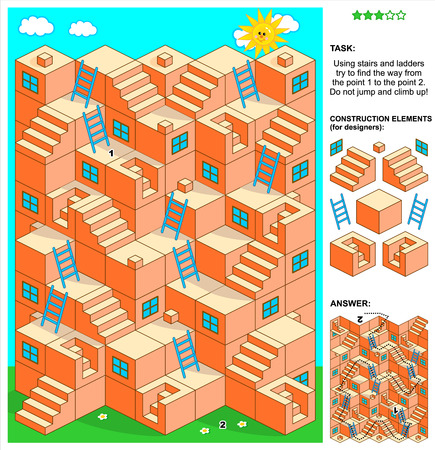 printable: 3d maze game: Using stairs and ladders try to find the way from the point 1 to the point 2.  Illustration