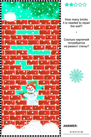 visual: Winter themed visual math puzzle: How many bricks it is needed to repair the wall? Answer included. Illustration
