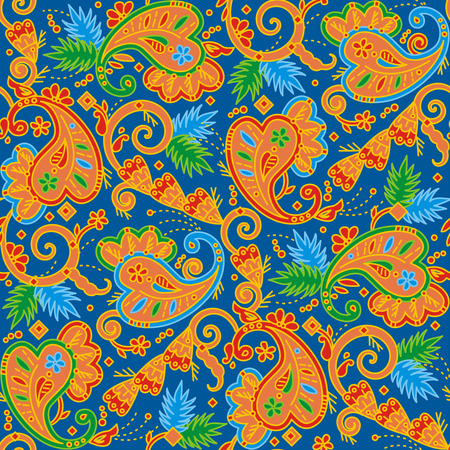 Seamless (easy to repeat) multicolor paisley pattern background (swatch, wallpaper, tile, print, texture)