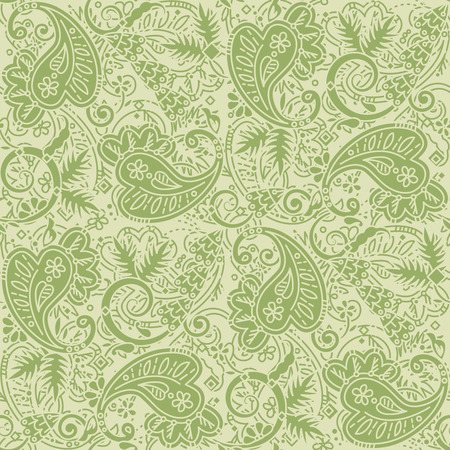 Seamless (easy to repeat) paisley pattern background (swatch, wallpaper, tile, print, texture), tan and green
