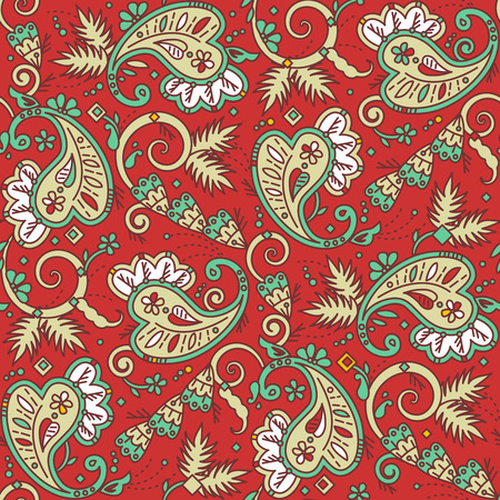 Seamless (easy to repeat) paisley pattern background (swatch, wallpaper, tile, print, texture), suitable for Christmas projects Vector