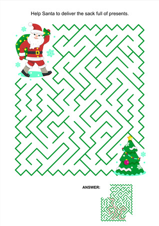 Maze game or activity page for kids: Help Santa to deliver the sack full of presents for children. Answer included.