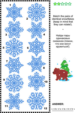 Winter and holidays themed visual puzzle: Match the pairs of identical snowflakes. Answer included.
