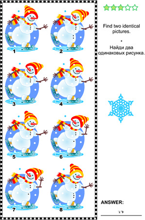 identical: Visual puzzle: Find two identical images of skating snowman. Answer included. Illustration