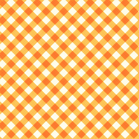 ocher: Orange and ocher gingham cloth background with fabric texture, suitable for autumn, Thanksgiving or Halloween designs, plus for vector mode seamless pattern included in swatch palette, pattern fill expanded Illustration