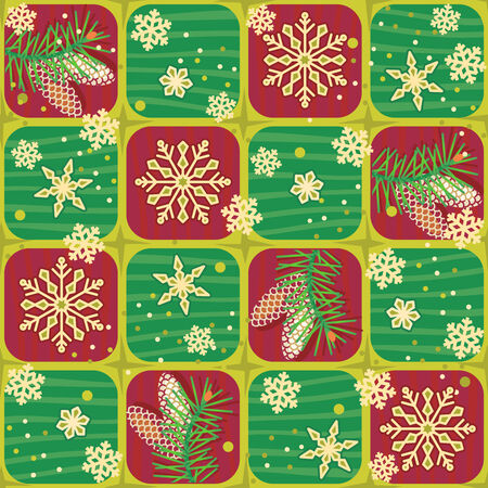 rapport: Seamless (easy to repeat) Christmas, winter or New Year background with fir tree branches, cones and snowflakes (swatch, wallpaper, tile, print, texture, repeat pattern or rapport)