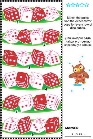 logica: Rompecabezas de la lógica visual, adecuado tanto para niños y adultos: Coincidir los pares - encontrar exactamente lo reflejado copia para cada fila de cubos de dados. Respuesta incluido.