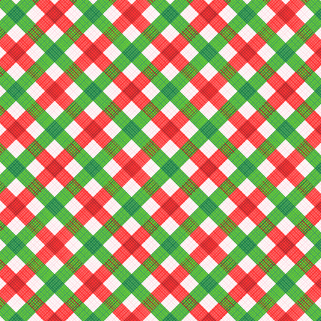 rapport: Christmas red and green gingham cloth background with fabric texture, plus seamless pattern included in swatch palette (for vector mode), pattern fill expanded Illustration