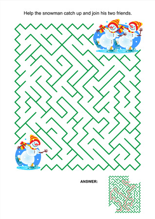 Maze game or activity page for kids: Help the snowman catch up and join his two friends. Answer included. Illustration
