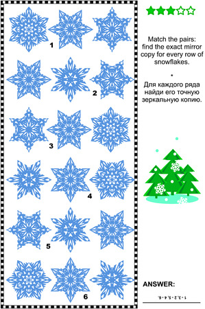 exact: Christmas, winter or New Year visual puzzle: Match the pairs - find the exact mirror copy for every row of the snowflakes. Answer included.