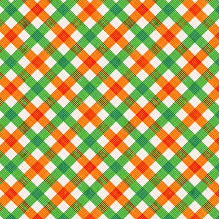 Orange and green gingham cloth background with fabric texture, suitable for autumn, Thanksgiving and St. Patrick\\ Vector