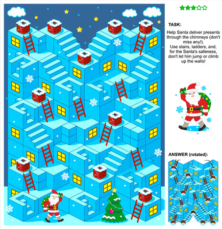 Christmas or New Year themed 3d maze game with stairs, ladders and Santa delivering presents through the chimneys. Answer included. Фото со стока - 33904194