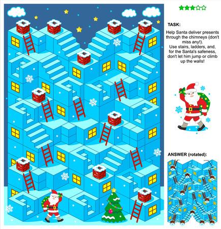 laberinto: Navidad o A�o Nuevo con temas juego de laberinto 3d con escaleras, escaleras de mano y de Santa entrega de regalos por las chimeneas. Respuesta contenida.