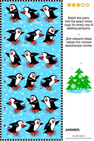 Christmas, winter or New Year visual puzzle: Match the pairs - find the exact mirror copy for every row of skating penguins. Answer included. Vector