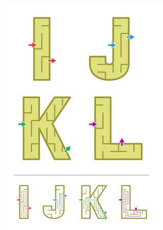 i kids: Easy alphabet maze games for kids - letters I, J, K, L. Answers included.