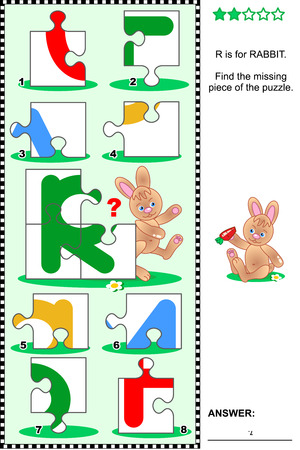 What is missing? Visual educational puzzle to learn with fun the letters of English alphabet: letter R (R is for rabbit). Answer included.