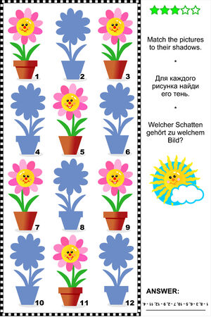 puzzle shadow: Visual puzzle or riddle with potted flowers: Match the pictures to their shadows. Answer included.