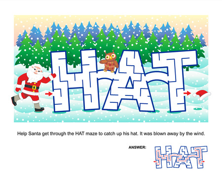 Christmas or New Year themed word maze: Help Santa get through the HAT maze to catch up his hat. It was blown away by the wind. Answer included. Vector