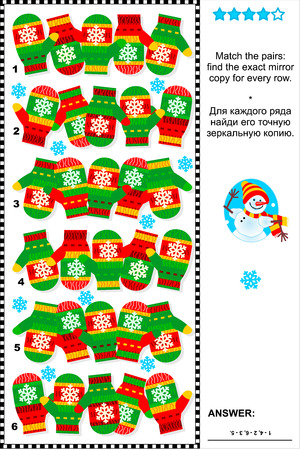 Christmas, winter or New Year visual puzzle (suitable both for kids and adults): Match the pairs - find the exact mirror copy for every row of knitted mittens. Answer included. Illustration