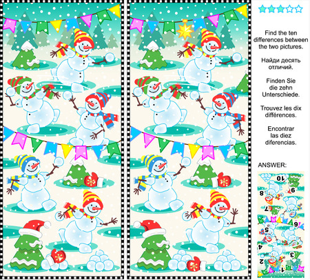 Christmas, New Year or winter themed visual puzzle: Find the ten differences between the two pictures  - playful happy snowmen at a christmas party. Answer included. Vector