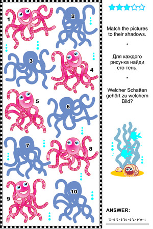 cephalopod: Underwater themed visual puzzle or riddle with octopuses: Match the pictures to their shadows. Answer included.