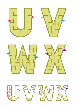 x games: Easy alphabet maze games for kids - letters U, V, W, X. Answers included. Illustration