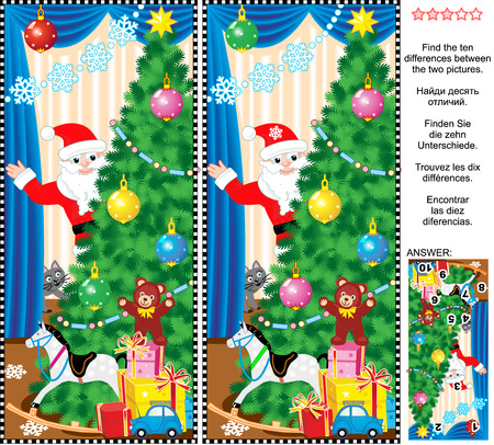 New Year or Christmas holiday themed visual puzzle: Find the ten differences between the two pictures of christmas tree, presents, toys and Santa. Answer included.