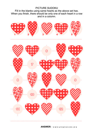Picture sudoku puzzle 5x5 (one block) with hearts of various shapes and patterns. Answer included.