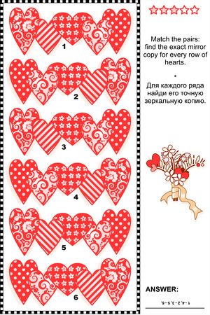mirrored: Valentines Day themed visual logic puzzle (suitable both for kids and adults): Match the pairs - find the exact mirrored copy for every row of hearts. Answer included.