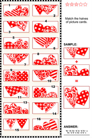 Valentines Day themed visual puzzle: Match the halves of picture cards with decorative hearts. Answer included. Illustration