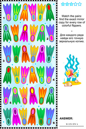 mirrored: Visual logic puzzle: Match the pairs - find the exact mirrored copy for every row of colorful flippers. Answer included. Illustration