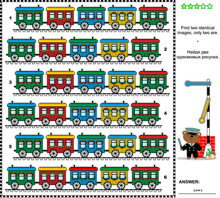 identical: Railroad themed visual puzzle: Find two identical pictures of colorful retro trains. Answer included.