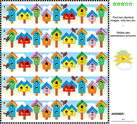Spring themed visual puzzle: Find two identical pictures of colorful birdhouses. Answer included.