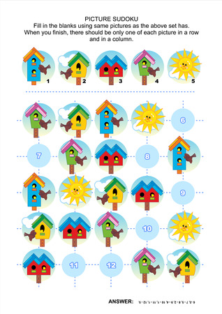 Picture sudoku puzzle 5x5 (one block) with birdhouses of various shapes and colors, and sun. Answer included. Illustration