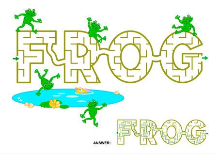 Makkelijk engels taal woord doolhof spel voor kinderen - FROG. Antwoorden opgenomen. Stock Illustratie