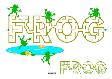 Easy english language word maze game for kids - FROG. Answers included. Illustration