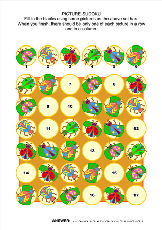 sudoku: Picture sudoku puzzle 6x6 (one block) with bugs and beetles. Answer included.