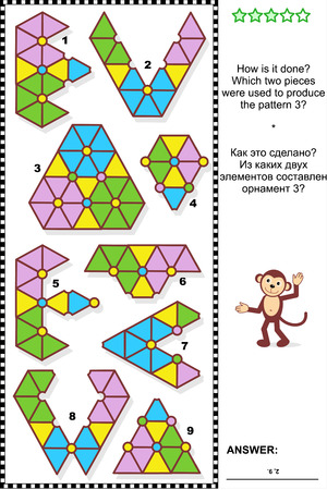 Abstract visual puzzle: How is it done? Which two pieces were used to produce the pattern 3? Answer included. Vector