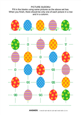 Easter themed picture sudoku puzzle Ilustrace