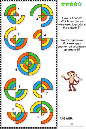 cerillos: Formaci�n IQ abstracto rompecabezas visual: �C�mo se hace? �Qu� dos piezas se utilizaron para producir el modelo 5? Respuesta contenida. Vectores