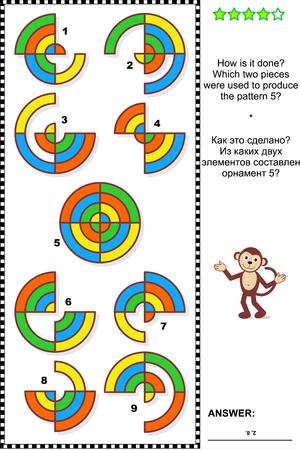 IQ training abstract visual puzzle: How is it done? Which two pieces were used to produce the pattern 5? Answer included. Ilustração