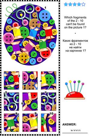 Needlecraft items visueel logische puzzel Stock Illustratie